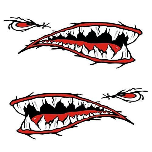 YCAZSH de Vinilo Resistente al Agua calcomanía de tiburón, 2 Piezas de la Boca de Dientes de tiburón del Coche a Prueba de Agua Etiquetas Adhesivas Canoa, Kayak Barco del Coche Accesorios del Carro