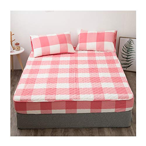 Bäddmadrassen Lakan Extra Soft Skin Friendly Andas Tvätt Maskintvättbar Easy Care Mycket Tålig Bomull (Color : Pink, Size : 150x200+23cm)