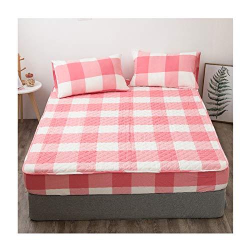 QIANGU Funda para Colchon Protectores De Colchón Suave Transpirable Máquina Lavable Fácil Cuidado Algodón De Gran Durabilidad (Color : Pink, Size : 180x200+23cm)