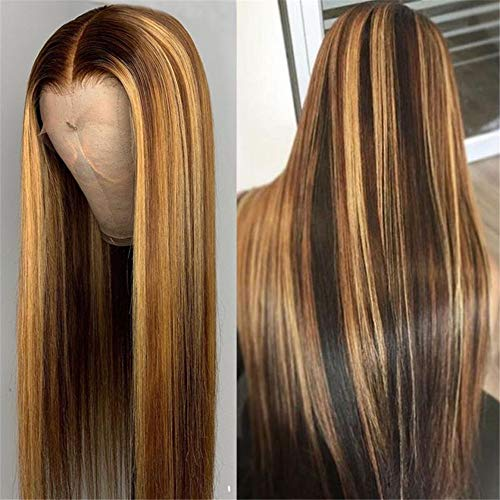 13X1 Deep Part Lace Front Human Hair Wig Straight Highlight Brown Honey Blonde Color Hair Pre Plucked Brazilian Virgin Hair Wigs with Baby Hair 150% Density Bleached Knots 18 Inch