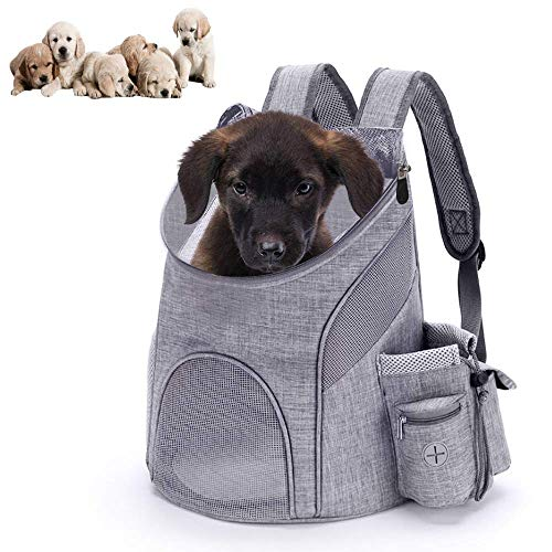 YANGWX Pet Backpack Carrier for Dogs Cats Puppies Bunny, Foldable Breathable Pet Carrier Travel Bag with Mesh Window, Puppy Carrier Bag for Outdoor Travel Camping Hiking(33x30x24cm)