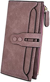 UTO Women's PU Matte Leather Large Capacity Wallet Card Phone Holder Organizer Girls Coin Purse with Snap Closure Purple