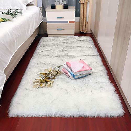 Alfombra cuadrada de piel de oveja de imitación de cordero, cojín de asiento, tapete mullido, tapete de pie, alfombra lavable para sala de estar, gris plateado - 60 x 60 cm