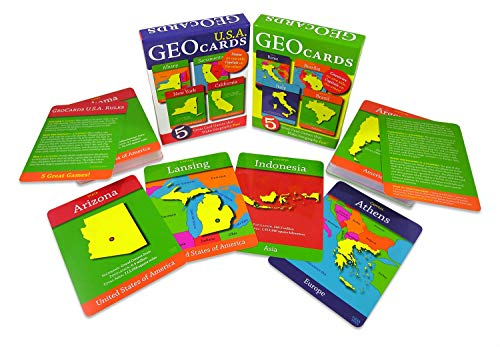 Geotoys - GeoCards World and GeoCards USA - Set of 2 Geography Card Games for Home, School and Travel — Learning Resources and Educational Toys, Flash Cards — Kid Toys for Ages 4 and Up