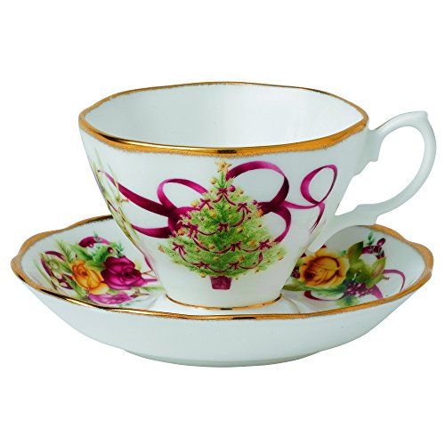 Old Country Roses Christmas Tree Teacup and Saucer Set