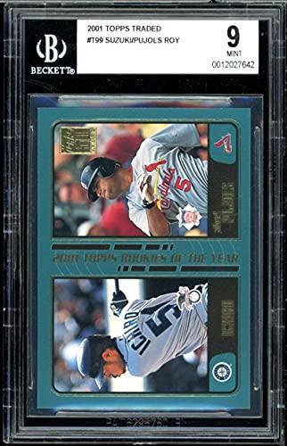 Ichiro Suzuki/Albert Pujols Rookie Card 2001 Topps Traded #t99 BGS 9