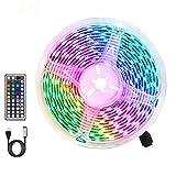 Tiras LED RGB 3m, AUELEK USB Tiras LED 180 LEDs 5050 Tira LED Exterior con 20 Colores/ 6 Modos/Impermeable IP65/ Control Remoto de 44 Botones para TV, Techo, Jardín, Casa, Bar, Fiesta, Navidad, Bodas