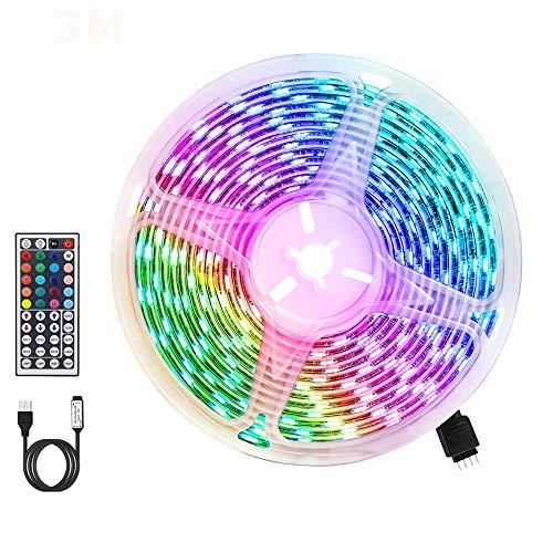 LED Strip RGB 3m, AUELEK USB LED Streifen 180 LEDs 5050 LED Streifen mit 20 Farben/ 6 Modi/ Wasserdicht IP65/ Fernbedienung mit 44 Tasten für TV, Dach, Garten, Haus, Bar, Party, Weihnachten, Hochzeit