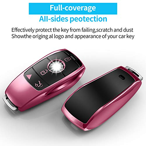 Tukellen for Mercedes Benz key fob cover,Special Soft TPU Key Case Protector Compatible with Mercedes Benz 2017-2021 E-Class 2018-2021 S-Class 2019-2021 A-Class C-Class G-Class-Rose Gold
