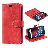 Mulbess Handyhülle für Moto G4 Play Hülle, Leder Flip Case Schutzhülle für Motorola Moto G4 Play Tasche, Wein Rot