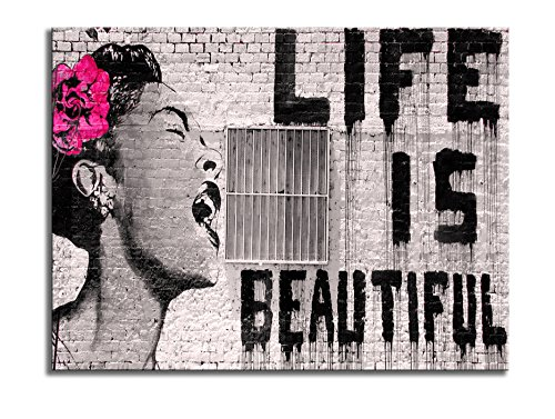 Wieco Art Banksy Life is Beautiful Modern Gallery Wrapped Giclee Canvas Prints Artwork Grey