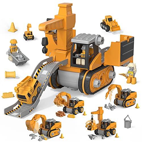 Smonta il camion da costruzione giocattolo per bambini Costruire veicoli Giocattoli (bulldozer, escavatore, dump truck, camion gru) per Boy Girl 3,4,5,6 annic