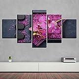 Binglin Impresión en Lienzo HD Wall Art Decor Sala de Estar 5 Piezas Rosa Flor Piedra e Incienso Cuadros Cartel Marco Modular Pinturas-S