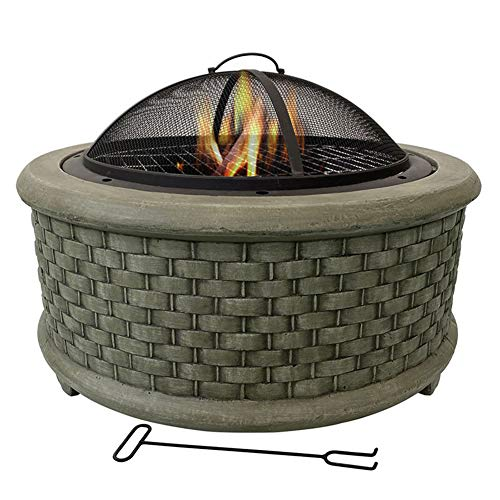 Large Round Fire Pit Housewares Cast Iron Fire Pit Mesh Ember and Spark Guard Screen 3-in-1 Outdoor Garden Terrace Heater Brazier,Bronze