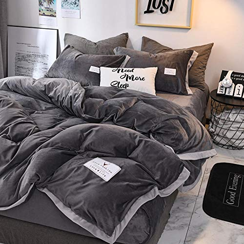 Shinon fleece duvet set teal,Winter thick double-sided plus fleece flannel duvet cover single bed single pillowcase-E_1.8m bed (4 pieces)