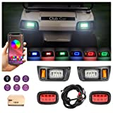 10L0L Upgrade Golf Cart LED Headlight Taillight Kit for Club Car DS, with Low/High Beam, Turn Signals Hazard Light Switch, Horn, Brake Pad, Music-Sync Color Daytime Running Lamp