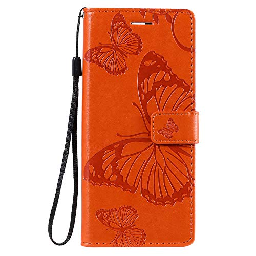 Leather Wallet Case for Sony Xperia 8 PU Leather Wallet Phone Case Flip TPU Shockproof Shell Slim Fit Protective Cover for Sony Xperia8 - EYKT042200 Orange