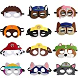 MEMOVAN Paw Dog Patrol Masks, 12pcs Paw Patrol Birthday Party Favors Felt Dress Up Mask, Pup Patrol Kids' Costume Masks, Paw Patrol Figure Mask for Kids' Cosplay Paw Patrol Theme Party Favors Supplies