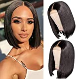4x4 Short Bob Wigs Human Hair Lace Closure Wigs Brazilian Virgin Human Hair Straight Bob lace Front Wigs For Black Women Pre Plucked with Baby Hair (10inch)
