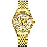 BINLUN Women's 18K Gold Luxury Automatic Watch 50 Meter Waterproof(Women Gold 2) Christmas Gift