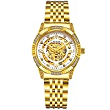 BINLUN Damen Armbanduhr 18 Karat vergoldet luxuriöse Automatikuhr Skelettuhr Mode Elegant Mechanisch Armbanduhren Geschenk für Mutter Freundin