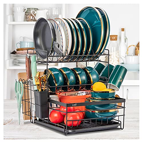 Dish Drying Rack 3 Tier Small Dish Rack for Kitchen Counter Dishes Drainer with Drainboard Plate Utensil Cutting Board Holder Rack, Dish Organizer Escurridor de Platos Black