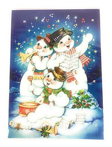 Adventskalender A4, 21 x 30 cm, mit Glitzer 3 spielende Schneemänner