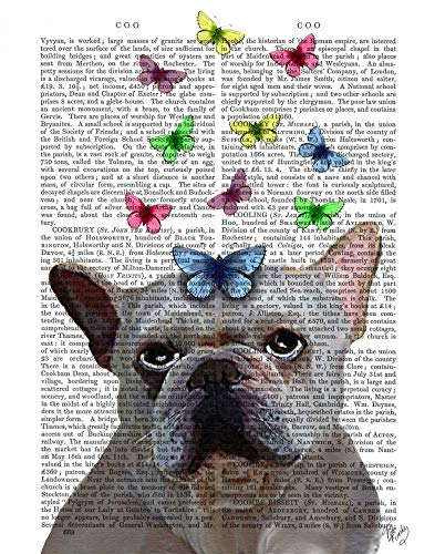 Feeling at home CANVAS-FRAMED-with-AMERICAN-BOX-White-French-Bulldog-and-Butterflies-Animals-wall-decore-on-wood-frame-Vertical-27x21_in