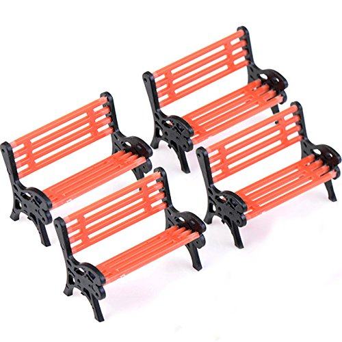 Gosear® 4 Pcs Mini Village Park Bench Meubles en Forme D'Ornement de Jardin Miniature Micro Paysage Décor