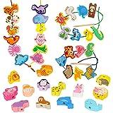O-Kinee Fädelspiel Spielzeug Holz, 40pcs Perlen Fädelspiel, Fädelspiel aus Holz, Wooden Perlen Spielzeug, Lernspielzeug für Kinder, Früh Lernen Feinmotorik Pädagogisches Geschenk