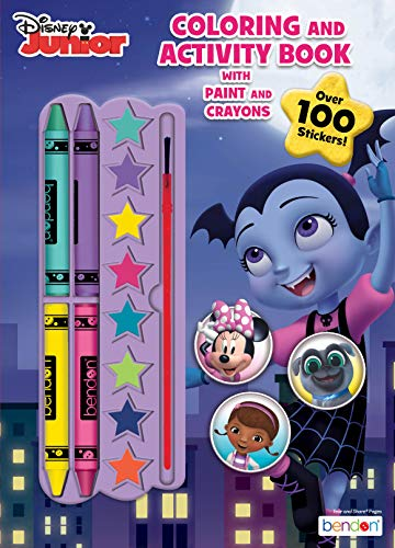 Vampirina Disney 128-Page Color and Paint Activity Book with 8 Paints, 4 Crayons and Stickers, 47526 Bendon
