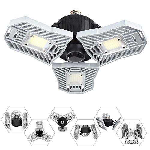 Led Garage Lights,Ceiling Light Bulbs Clamp 60W E26/E27 6000LM Utility Led for Workshop,Basement,Barn,Wine Cellar.etc(No Motion Activated)