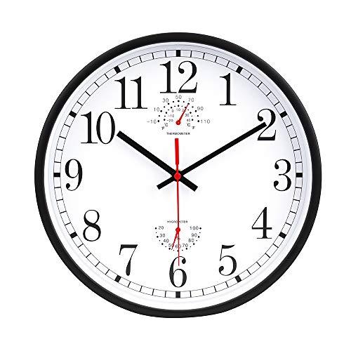 jomparis 12 inch grote kwarts zwarte wandklok met temperatuur en vochtigheid, niet tikken stille vegen seconden,gemakkelijk te lezen klok moderne stijl voor huis/keuken/kantoor/school