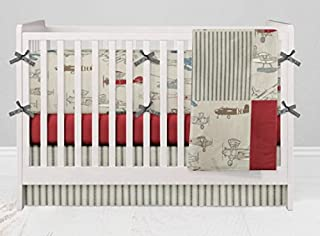 Crib Bedding Set - Vintage Airplane Red - 4 Piece Crib Bedding Set with Bumper Set by Twig + Bird - Handmade in America