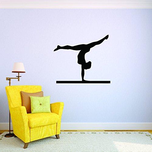 Design with Vinyl JER 359 3 Gymnastics Flip Split Balance Beam Sport Girl vinilo adhesivo de pared, negro, 10' x 20'