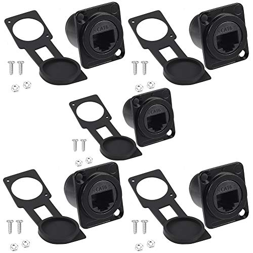 Anmbest 5PCS Panel Mounting RJ45 IP65 Waterproof PCB Signal Panel Cat5/5e 8P8C Connector Ethernet LAN Cable Connector Double Head Coupler Adapter Female to Female with Waterproof/Dust Cap (CAT6)