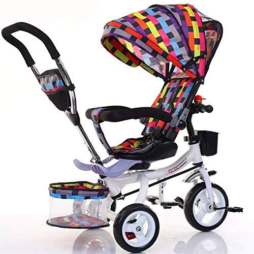 ZXCVB Baby-Dreirad, Verstellbare Überdachung, Sicherheitsgurt, Stoßdämpfung Infant Kinderwagen Fahrrad, for Kleinkind-Jungen/Mädchen, 7 Monate - 6 Jahre (Color : E)
