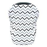 Nursing Cover Black Grey Wave Stripes Baby Car Seat Canopy