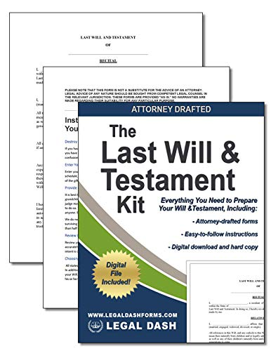 Legal Dash Last Will and Testament Kit with Forms– Do It Yourself Last Will and Testament - Includes Digital Downloads, Last Will and Testament Forms, Legal Will Forms