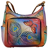 Anna by Anuschka Hobo Organizer Handbag - Genuine Leather - Peacock Butterfly