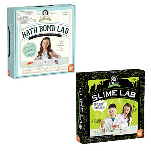 MindWare Science Academy: Set of 2 - Bath Bomb & Slime Labs - Kids & Teens Create 4 Bath Bombs & 8 Slimy Projects - Creative DIY Chemistry Kits for Both Boys & Girls - Makes Great Gifts