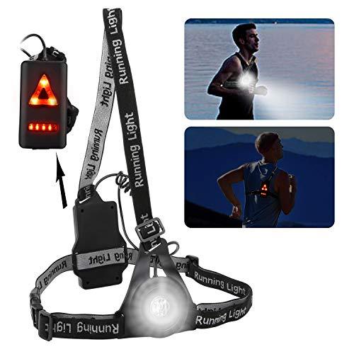 Nacht Lauflicht Lampe,BEINHOME USB LED Lampe Brust Lauflicht mit Rücklicht,3 Modi,IP65 wasserdicht,Hochsichtbares Licht Bis zu 250 Lumen Nacht Sport Lauflicht für Laufen Joggen Hund Spazieren Camping