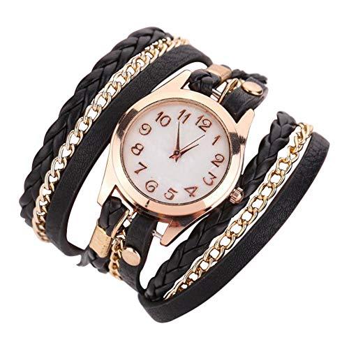 Scrox 1x Damen Stylische Charming Armbänder Weave Wrap Armband Armbanduhr Vintage Elegante Leder Kette Quarzuhr Armschmuck für Männer und Frauen (Schwarz)