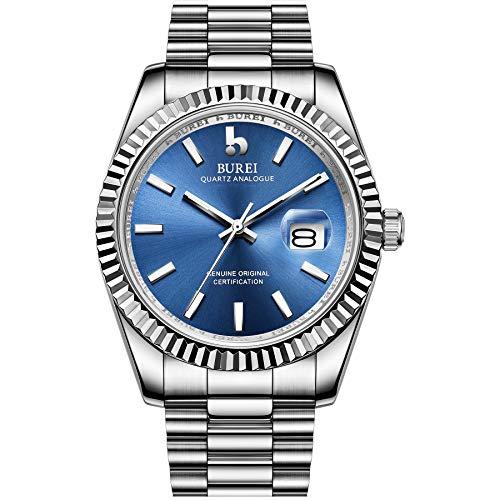 BUREI Relojes de Lujo para Hombres Reloj de Cintura de Cuarzo analógico Fecha Calendario con Banda de Acero Inoxidable