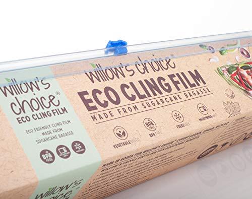 Willow's Choice Pellicola per alimenti ecologica in zucchero di canna naturale | Vegana, riciclabile, priva di BPA e Ftalati | Sicura in freezer, microonde, con confezione e taglierino | 30cm x 100m
