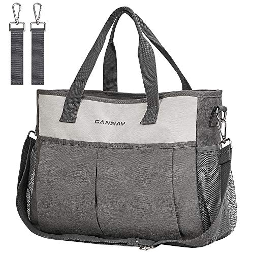 Diaper Bag Tote, CANWAY Large Travel Diaper Bag Convertible Baby Bag with Insulated Pocket, Shoulder and Stroller Straps, Multifunction Diaper Maternity Bag Stylish and Waterproof for Mom and Dad