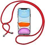 Ingen Funda con Cuerda para iPhone 11 - Carcasa Transparente TPU Suave Silicona Case con Colgante - Rojo