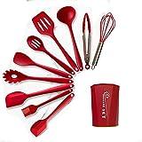 Utensilios de cocina de silicona 10 piezas de almacenamiento barril herramienta de cocina antiadherente utensilios de cocina espátula Set utensilios de hornear (rojo)