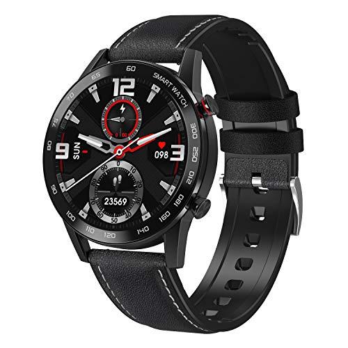 WT2 Smartwatch, Reloj Inteligente con, Monitor del Sueño, Pulsómetro, Impermeable Cronometro Monitor de Actividad y Presión Arterial Compatible Android iOS Cuero Negro