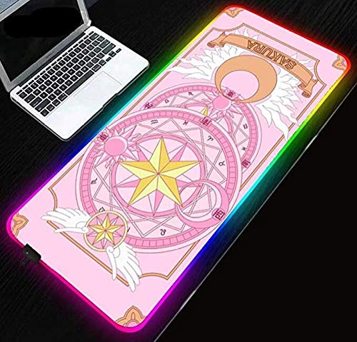 Mouse Pads Girls Pink Series Cardcaptor Sakura RGB Gaming Mouse Pad LED Mouse Pad Anti Slip Waterproof Mouse Mat for Computer (11.8X23.6) inch